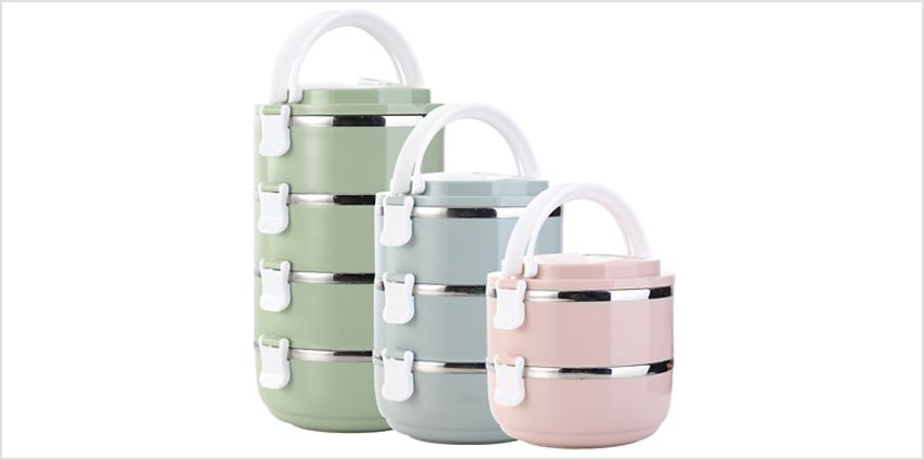 Multi-Layer Insulated Stainless Steel Lunch Box - 3 Colours from GoGroopie