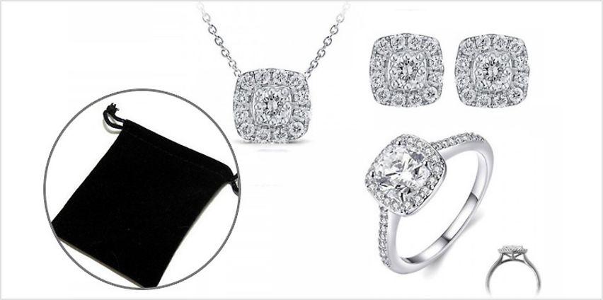 White Created Sapphire Trio Jewellery Set from GoGroopie