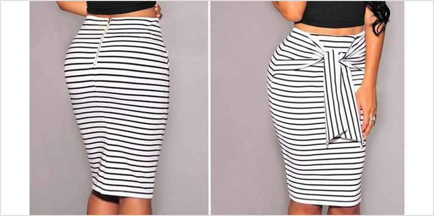 High-Waist Striped Pencil Skirt - 3 Colours & 3 Sizes from GoGroopie