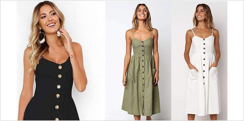 Button Front Summer Dress - 5 Colours & 4 Sizes from GoGroopie