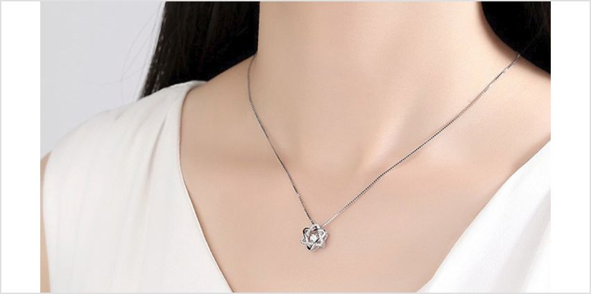 Simulated Crystal Silver Plated Star Pendant Necklace from GoGroopie