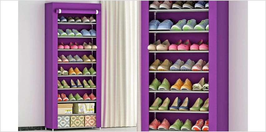 9-Tier Shoe Organiser with Dust Cover - 2 Colours from GoGroopie