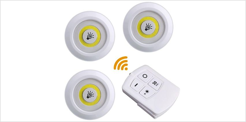 3 or 6 Wireless LED Night Lights with Remote Control from GoGroopie