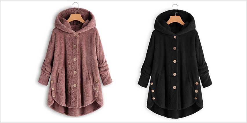 Women's Hooded Button Teddy Coat - 11 Colours & 6 Sizes from GoGroopie