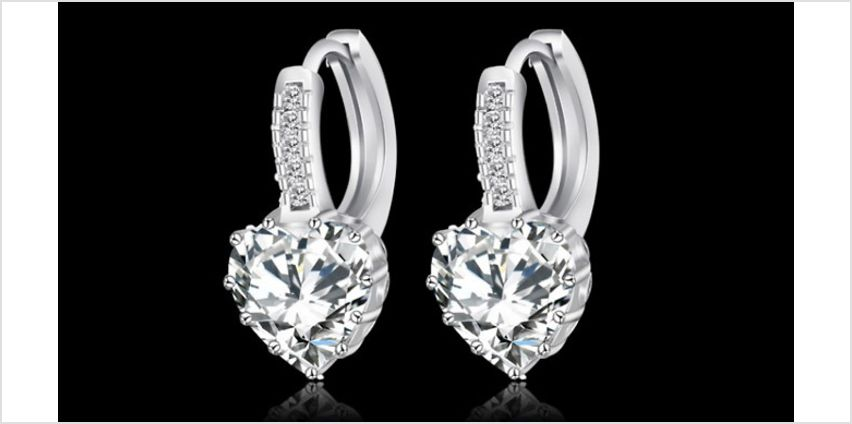 Set of 3 18K White Gold-Plated Earrings with Swarovski Elements from GoGroopie