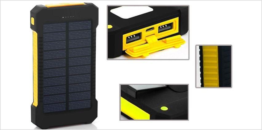 Dual USB Solar Power Bank With Flashlight - 5000mAh from GoGroopie
