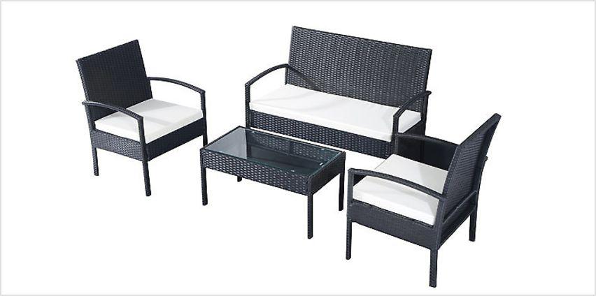 4-Piece Rattan Garden Furniture Set from GoGroopie