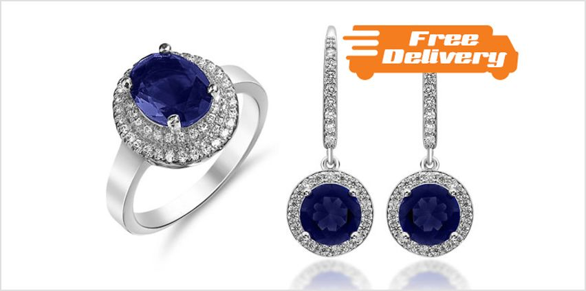 18K White Gold Plated 2ct Simulated Blue Sapphire Set - Free Delivery! from GoGroopie
