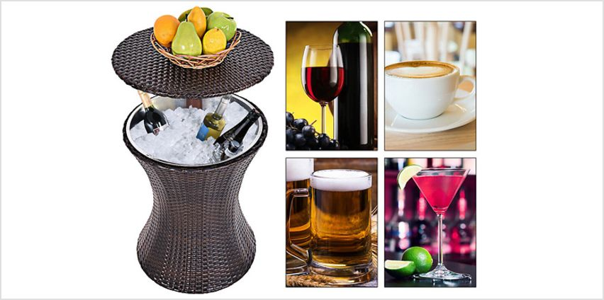 Rattan Drinks Table - Secret Ice Bucket Compartment! from GoGroopie