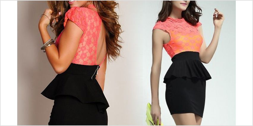 Peplum-Lace Bodycon Dress - 2 Colours from GoGroopie