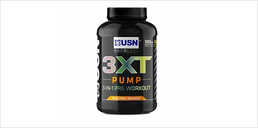 15% off USN 3XT Pump Orange 840 g: Pre Workout Supplement Energy Drink With Caffeine and more from Amazon