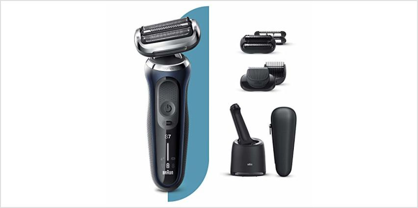 Braun Series 7 Electric Shaver for Men with Beard Trimmer, Stubble Beard Trimmer, SmartCare Center, Wet & Dry, Rechargeable, Cordless Foil Razor, Blue, 70-B7850cc from Amazon