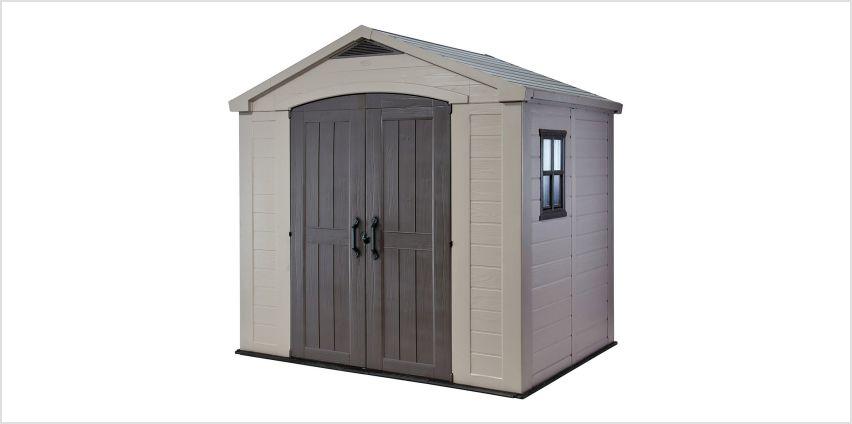 Keter Factor Apex Garden Storage Shed 8 x 6ft – Beige/Brown from Argos