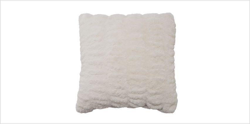 Argos Home Winter's Cabin Fur Cushion - White from Argos