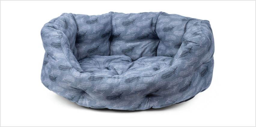 Petface Grey Feather Oval Dog Bed - Large from Argos