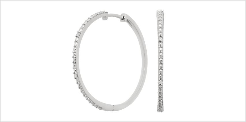 Revere Sterling Silver 0.03ct tw Diamond Hoop Earrings from Argos