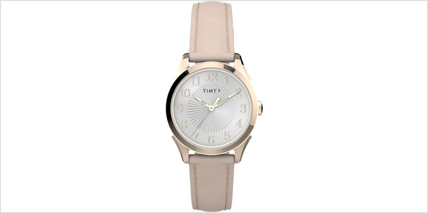 Timex Ladies Pink Leather Strap Watch from Argos