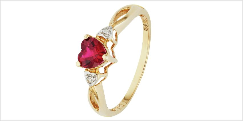 Revere 9ct Gold Ruby and Diamond Accent Heart Ring from Argos