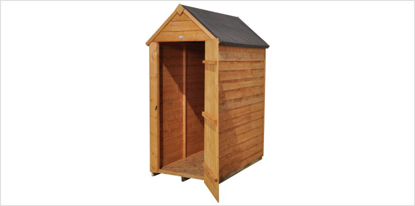 Forest Wooden 3 x 5ft Overlap Windowless Apex Shed from Argos
