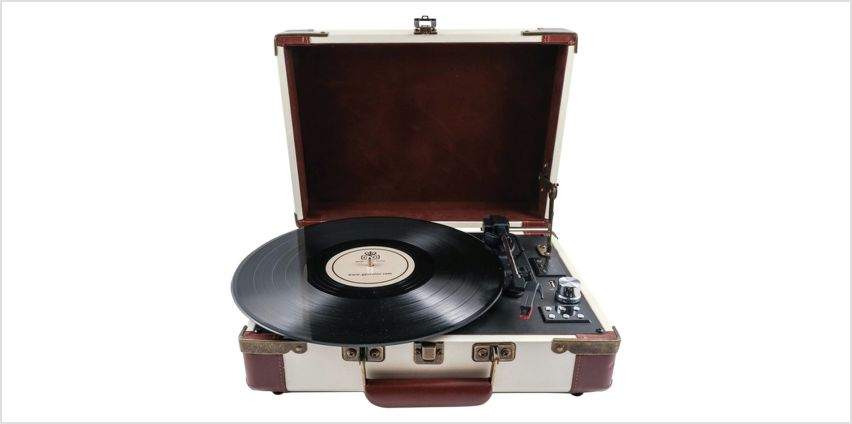 GPO Ambassador Record Player - Cream and Brown from Argos