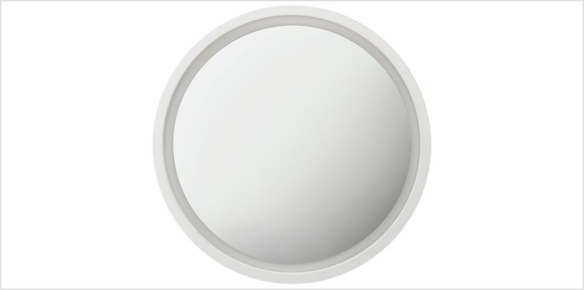 Argos Home Siena Round Floating Wooden Mirror - White from Argos