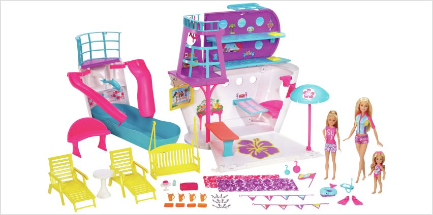 Barbie Cruise Ship Playset with 3 Dolls and 28 Accessories from Argos