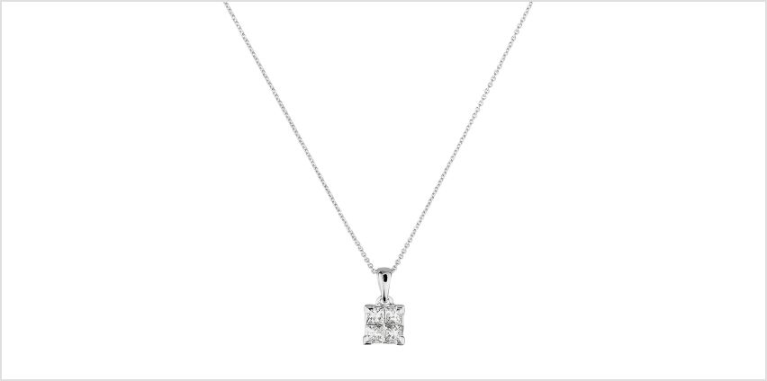 Revere 9ct White Gold Diamond Pendant 18 Inch Necklace from Argos