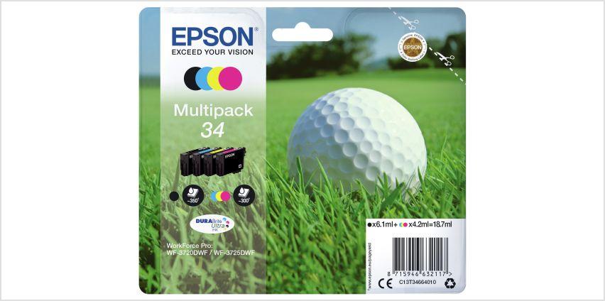 Epson Golf Ball 34 Ink Cartridges - Black & Colour from Argos