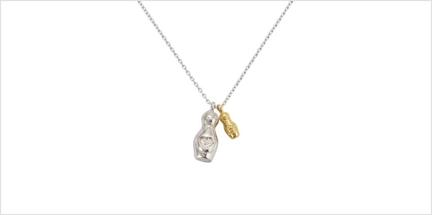 Moon & Back Sterling Silver Russian Dolls  Pendant Necklace from Argos