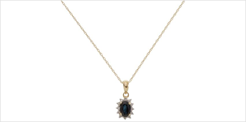 Revere 9ct Gold Sapphire & Diamond Pendant Necklace from Argos
