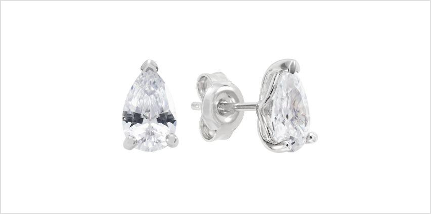 Revere Sterling Silver Pear Shape Cubic Zirconia Earrings from Argos