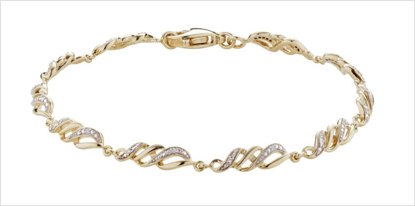 Revere 9ct Gold Plated 0.02ct tw Diamond Swirl Bracelet from Argos