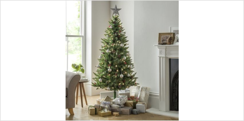 Argos Home 6ft Berry & Cone Pre-Lit Christmas Tree - Green from Argos