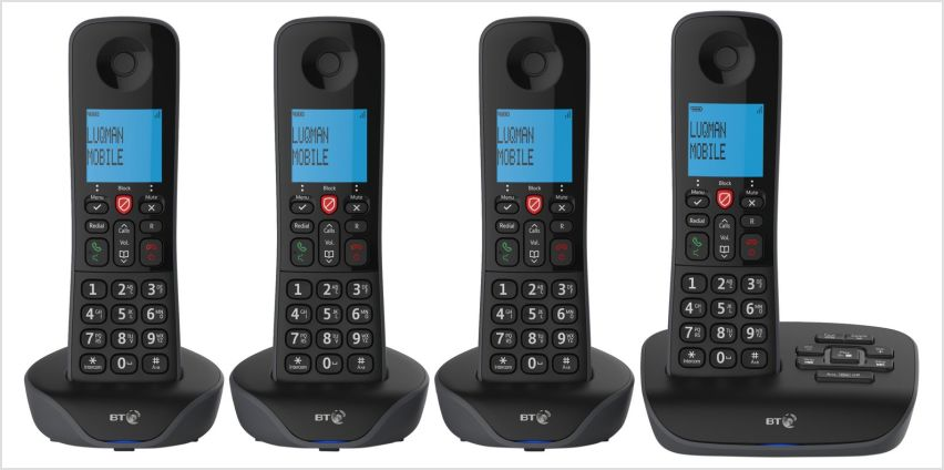BT Essential Cordless Telephones & Answering Machine - Quad from Argos