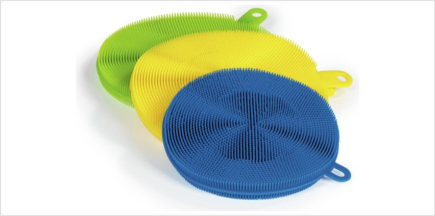 Cleanmaxx 3 Piece Silicone Sponge Cleaning Set from Argos