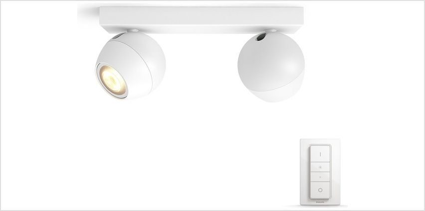 Philips Hue Buckram 5.5W GU10 230V Spotlights - White from Argos