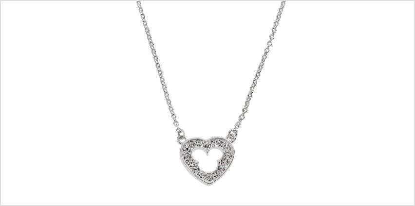Disney Mickey Mouse Sterling Silver Crystal Heart Necklace from Argos