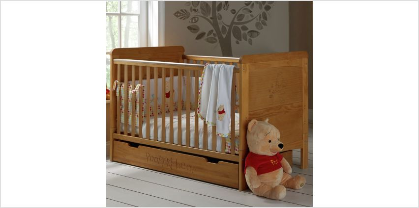Disney Winnie The Pooh Cot Bed & Under Drawer - Country Pine from Argos