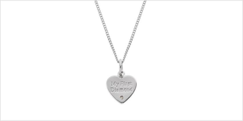 Revere Silver Diamond Accent 'My First Diamond' Pendant from Argos