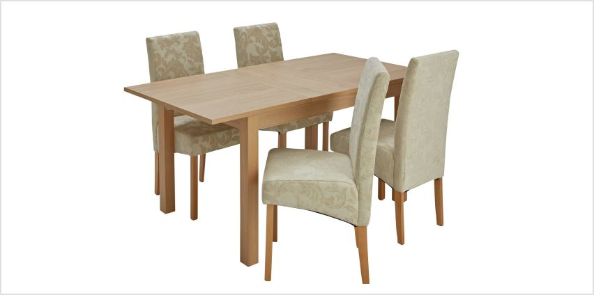 Argos Home Clifton Oak Extending Dining Table & 4 Chairs from Argos