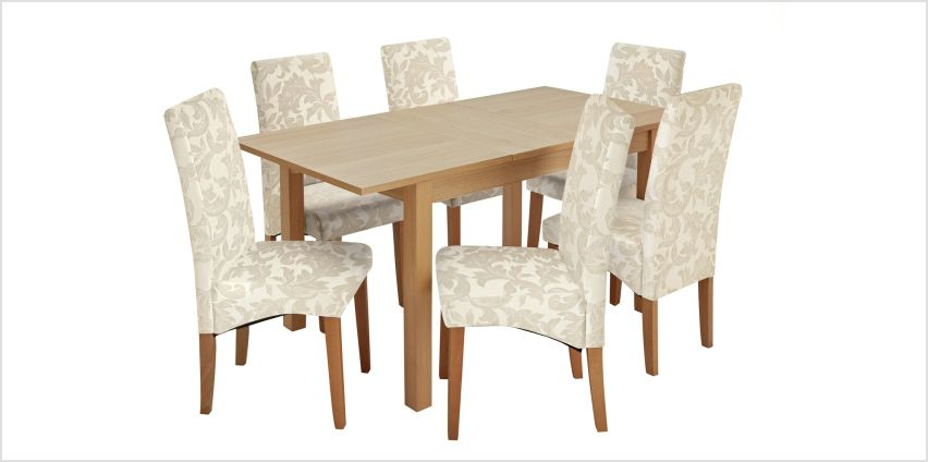 Argos Home Clifton Oak Extending Dining Table & 6 Chairs from Argos