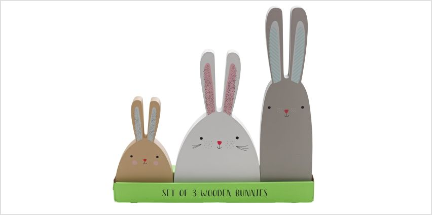 Argos Home Set of 3 Wooden Bunnies from Argos
