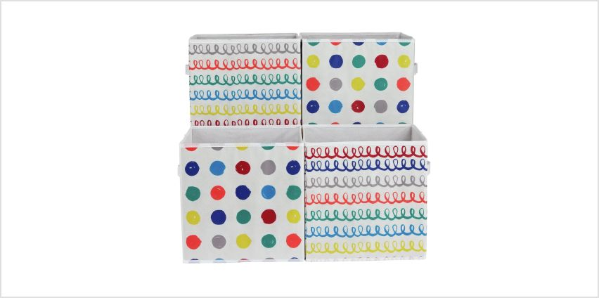 Argos Home Set of 4 Spots & Squiggles Canvas Boxes from Argos