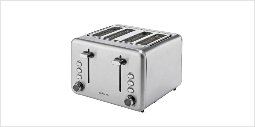 Cookworks 4 Slice Toaster - Brushed Stainless Steel from Argos