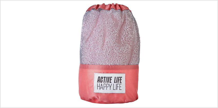 Active Life Happy Life Sports Towel - Pink from Argos