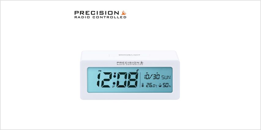 Precision Radio Controlled Alarm Clock - White from Argos