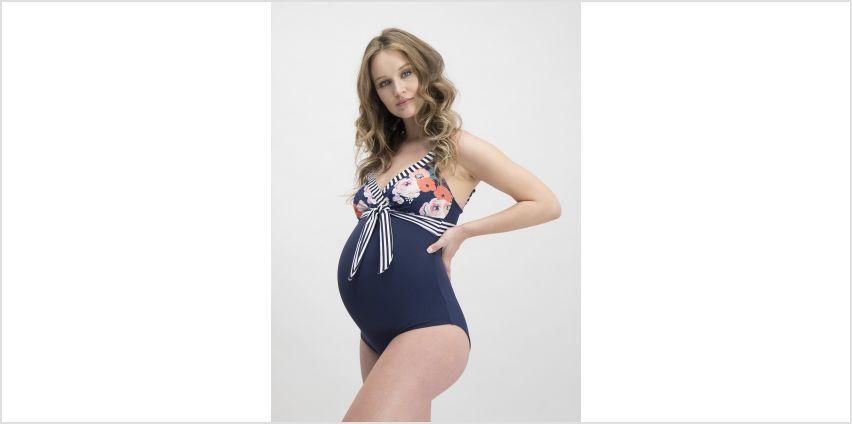 Maternity Navy Flower & Stripe Swimsuit from Argos