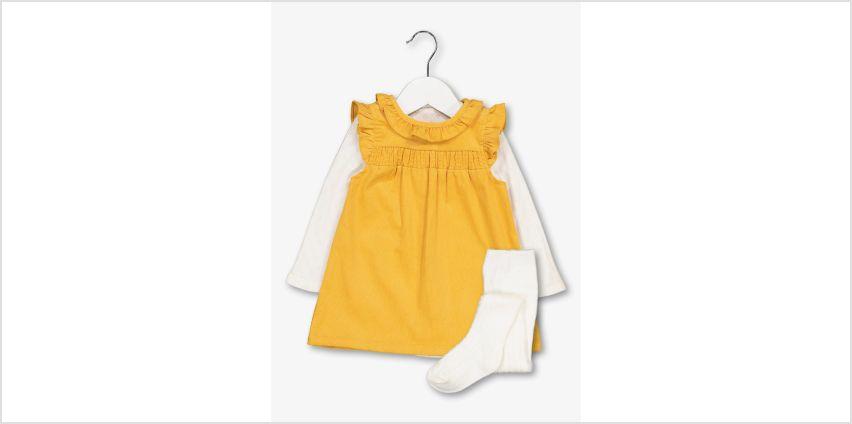 Mustard & Cream Pinafore, Bodysuit & Tights Set from Argos