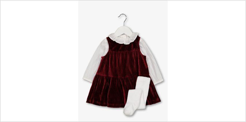 Red Velvet Dress, Top & Tights Set from Argos