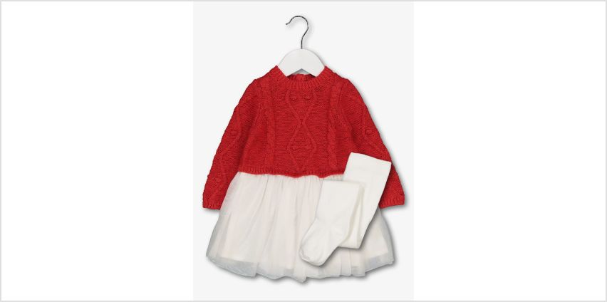 Red & White Knitted Upper Dress & Tights from Argos
